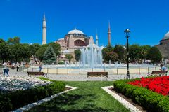 Hagia Sophia in Istanbul, Turkey. Byzantine Empire ancient historical monument Hagia Sophia, Ayasofya and fountain in Sultanahmet square Istanbul, Turkey Stock Photos