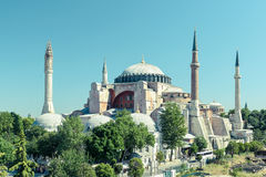 Hagia Sophia in Istanbul, Turkey. Church of Hagia Sophia is the greatest monument of Byzantine Culture. Vintage photo stock photography