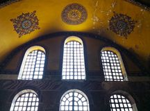 The Hagia Sophia of Istanbul, Turkey-March 30, 2018: The windows royalty free stock photo