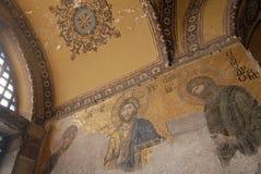 Hagia Sophia - Istanbul - Turkey. Mosaic interior in Hagia Sophia at Istanbul Turkey - architecture background Royalty Free Stock Images