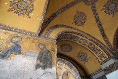Hagia Sophia - Istanbul - Turkey. Mosaic interior in Hagia Sophia at Istanbul Turkey - architecture background Stock Images
