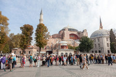 Hagia Sophia. ISTANBUL - TURKEY - OCT 7: Unidentified tourists visiting the Hagia Sophia museum. Hagia Sophia is the greatest monument of Byzantine Culture in royalty free stock photography