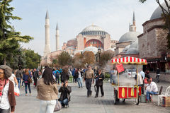 Hagia Sophia. ISTANBUL - TURKEY - OCT 7: Unidentified tourists visiting the Hagia Sophia museum. Hagia Sophia is the greatest monument of Byzantine Culture in royalty free stock image