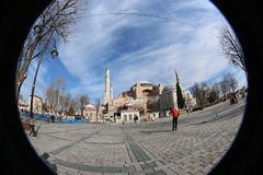 Hagia Sophia in Istanbul, Turkey - one of the European Capital of Culture 2018. Hagia Sophia, Turkish Ayasofya, Latin Sancta Sophia, also called Church of the royalty free stock photography