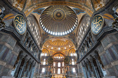 Hagia Sophia, Istanbul. ISTANBUL, TURKEY - SEPTEMBER 06, 2014: Hagia Sophia interior on September 06, 2014 in Istanbul, Turkey. Hagia Sophia is the greatest royalty free stock photo