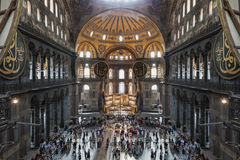 Hagia Sophia, Istanbul. ISTANBUL, TURKEY - SEPTEMBER 06, 2014: Hagia Sophia interior on September 06, 2014 in Istanbul, Turkey. Hagia Sophia is the greatest royalty free stock photography
