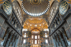 Hagia Sophia, Istanbul. ISTANBUL, TURKEY - SEPTEMBER 06, 2014: Hagia Sophia interior on September 06, 2014 in Istanbul, Turkey. Hagia Sophia is the greatest stock image