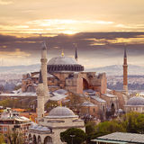 Hagia Sophia. In Istanbul. The world famous monument of Byzantine architecture. View of the St. Sophia Cathedral at sunset Stock Photos