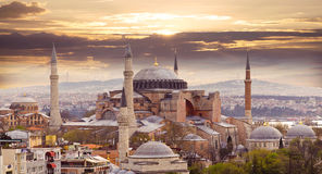 Hagia Sophia. In Istanbul. The world famous monument of Byzantine architecture. View of the St. Sophia Cathedral at sunset Stock Images
