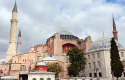 Hagia Sophia in Istanbul. The world famous monument of Byzantine architecture. View of the St. Sophia Cathedral at Royalty Free Stock Photography