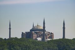 Hagia Sophia mosque in the distance royalty free stock photos