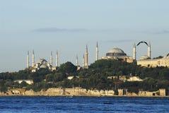 Hagia sophia mosque - istanbul. Hagia sophia and sultan ahmet scene from the sea Stock Image