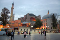 Hagia Sophia Mosque. The Hagia Sophia Mosque in Istanbul at the evening Royalty Free Stock Photos
