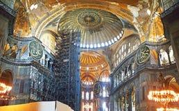 Hagia Sophia Mosque Istanbul Interior Dome. Interior view of Hagia Sophia Mosque Istanbul Panoramic stock photo