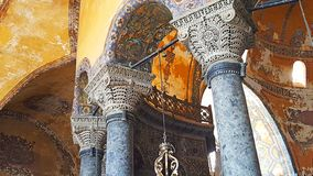 Hagia Sophia Mosque Istanbul Panoramic. Interior view of Hagia Sophia Mosque Istanbul Panoramic royalty free stock photo
