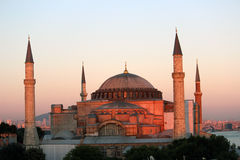 Hagia Sophia mosque. (Istanbul, Turkey) at sunset Royalty Free Stock Photo