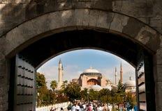 Hagia Sophia Mosque by nice perspective. The big Hagia Sophia mosque in Istanbul Turkey Stock Photo