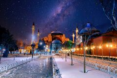 Free Hagia Sophia Mosque Of The Holy At Starry Night Royalty Free Stock Photo - 191519775