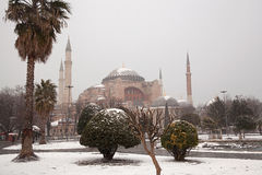 Hagia Sophia Mosque at a snowy day Royalty Free Stock Photo