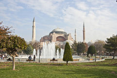 Hagia Sophia Mosque. The Hagia Sophia Mosque and the Sultanahmet park in Istanbul at bright sunny day Royalty Free Stock Photos