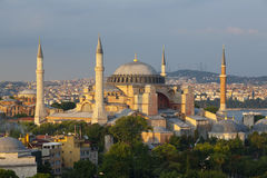 Hagia Sophia Museum in the afternoon, Istanbul, Turkey. Elevated view of the Hagia Sophia Museum, Istanbul, Turkey Stock Photo