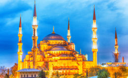 Hagia Sophia Museum at dusk, aerial view of Istanbul, Turkey Royalty Free Stock Image