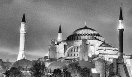 Hagia Sophia Museum at dusk, aerial view of Istanbul, Turkey Royalty Free Stock Images