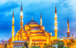 Hagia Sophia Museum at dusk, aerial view of Istanbul, Turkey Royalty Free Stock Photography