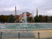Hagia Sophia Museum with Fountain in Sultan Ahmed Square stock images