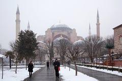 Hagia Sophia Museum på den snöig vintern Royaltyfri Bild