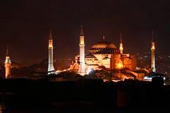 Hagia Sophia in nacht Royalty-vrije Stock Fotografie