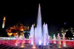 Hagia Sophia at night stock images