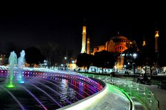 Hagia Sophia at night stock photography