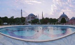 Hagia Sophia no nascer do sol com fonte de Sultanahmed Imagens de Stock Royalty Free