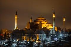 Hagia Sophia på natten Fotografering för Bildbyråer