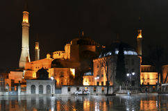 Hagia Sophia Rainy night Royalty Free Stock Images