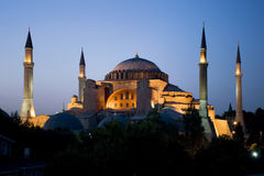 Hagia Sophia am Sonnenuntergang Lizenzfreie Stockfotografie