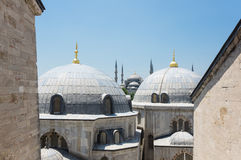 Hagia Sophia and Sultan Ahmet Mosque in Instanbul. Domes of Hagia Sophia and Sultan Ahmet Mosque in Instanbul, Turkey Royalty Free Stock Photo