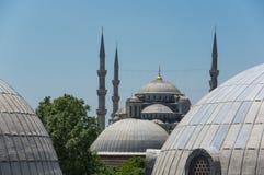 Hagia Sophia and Sultan Ahmet Mosque in Instanbul. Domes of Hagia Sophia and Sultan Ahmet Mosque in Instanbul, Turkey Stock Photo