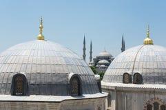 Hagia Sophia and Sultan Ahmet Mosque in Instanbul. Domes of Hagia Sophia and Sultan Ahmet Mosque in Instanbul, Turkey Royalty Free Stock Photos