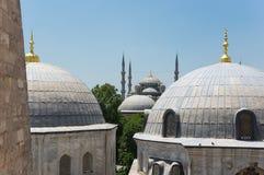 Hagia Sophia and Sultan Ahmet Mosque in Instanbul. Domes of Hagia Sophia and Sultan Ahmet Mosque in Instanbul, Turkey Stock Image