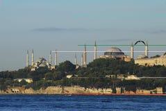 Hagia sophia and sultan ahmet scene from the sea. Aya sophia and Blue mosque scene from the sea Stock Photo