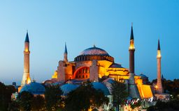 Hagia Sophia with sunset on a background Royalty Free Stock Photos
