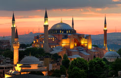 Hagia Sophia and sunset Royalty Free Stock Photography