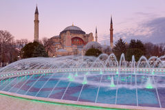 Hagia Sophia at sunset, Istanbul, Turkey Stock Images