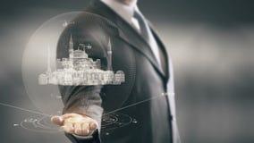 Hagia Sophia Turkey Businessman que lleva a cabo nuevas tecnologías de la señal disponible metrajes