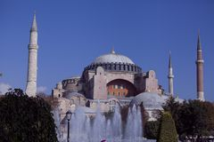 Hagia Sophia view from fountain. Hagia Sophia the Church of Holy Wisdom is one of the greatest surviving examples of Byzantine architecture royalty free stock photo