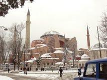Hagia Sophia w Istanbuł Turcja na śnieżnym zima dniu Zdjęcia Stock