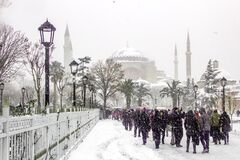 Hagia Sophia and it's faithful tourists Royalty Free Stock Images
