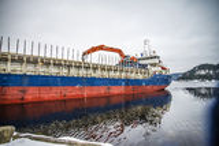 Hagland borg leaving halden harbor Royalty Free Stock Photography